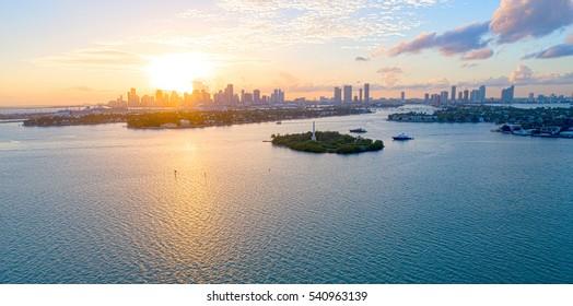 City of Miami Florida Aerial Sunset View Biscayne Bay