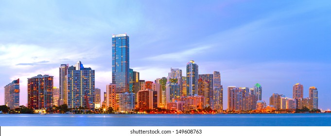 City of Miami Florida, colorful sunset panorama of downtown business and residential buildings