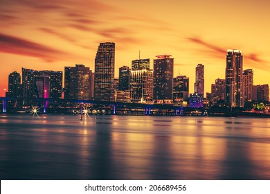 CIty of Miami at sunset, special photographic processing