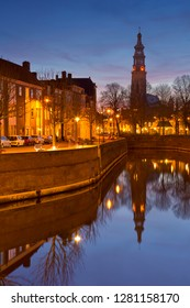 The city of Middelburg with the Lange Jan church tower in The Netherlands at night.