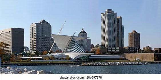 City of Milwaukee Wisconsin skyline from Lake Michigan view