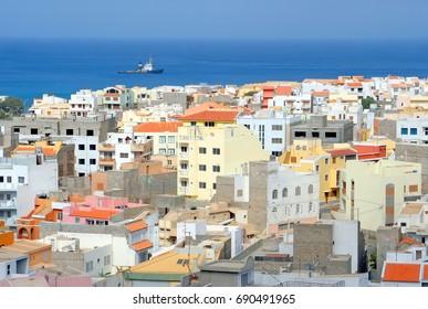 City of Mindelo in Sao Vicente island and the Atlantic Ocean, Cape Verde Archipelago (Republic of Cabo Verde)