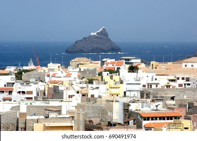 City of Mindelo in Sao Vicente island and the lighthouse on the rock, Cape Verde Archipelago (Republic of Cabo Verde)