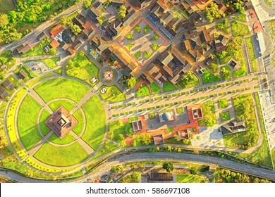 City Mitad Del Mundo Center Of The World Village Aerial View Of The Entire Complex In Quito Capital Of Ecuador