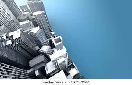 City modern building top view background, space for text, 3d rendering