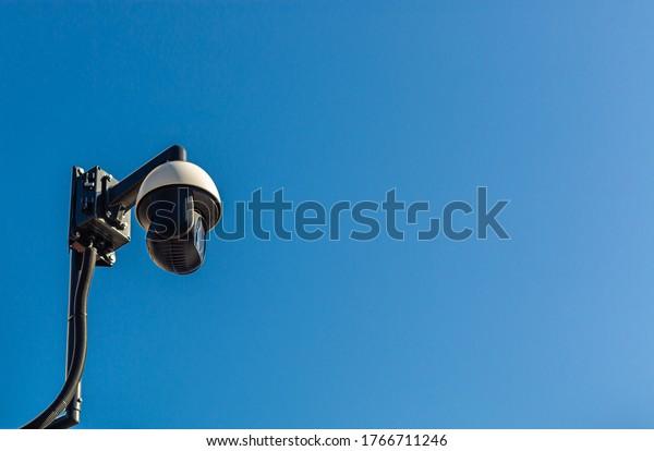 City monitoring. Mast camera. Public safety.