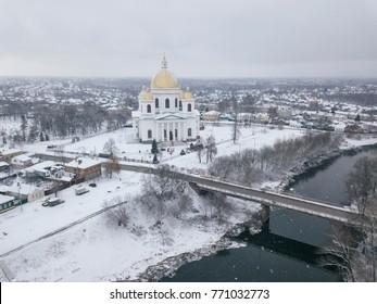The city of Morshansk. Russia. Trinity Cathedral. River tsna