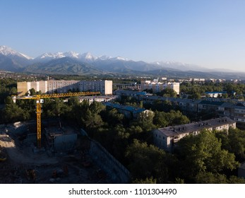 City with mountains on background