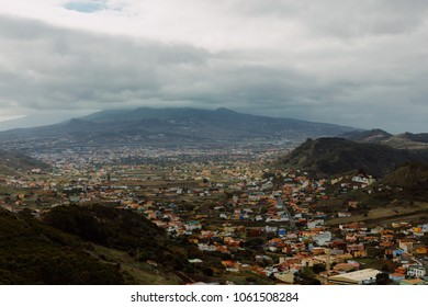 City in mountains. Tenerife, Anaga. Top view