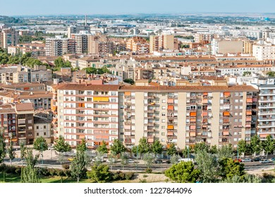 City neighbourhood, residential buildings in suburb, aerial view