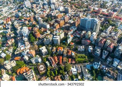 City neighbourhood, suburb in the summer aerial