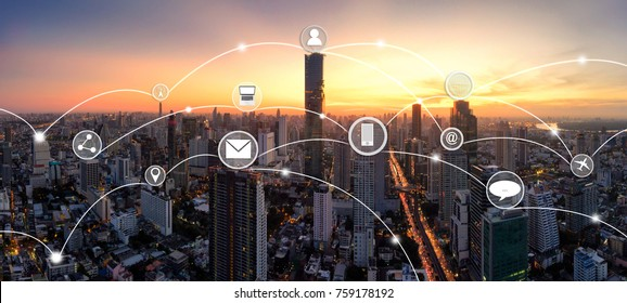 City and network connection concept,technology concept