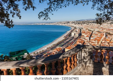 City of Nice from above in France at Mediterranean Sea, provence Alpes-Maritimes, Cote D'Azur - French Rviera