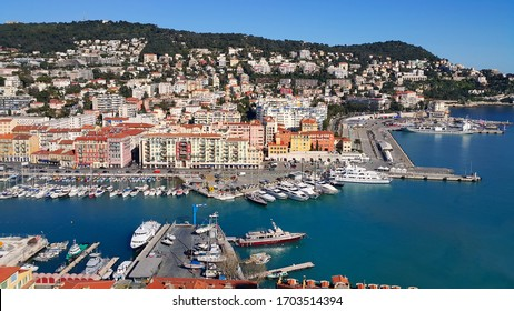 City of Nice in France, beautiful view above Port of Nice on French Riviera