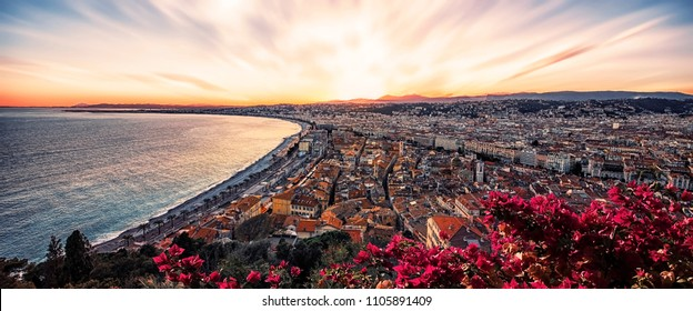 City of Nice on the French Riviera in summer