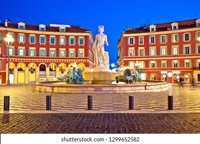 City of Nice Place Massena square and Fountain du Soleil evening view, tourist destination of Franch riviera, Alpes Maritimes department of France