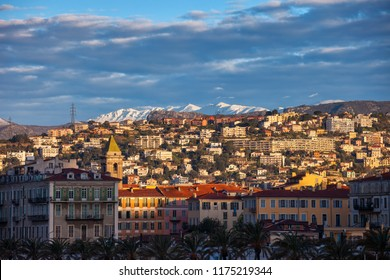 City of Nice at sunrise in France, provence Alpes-Maritimes Cote d'Azur