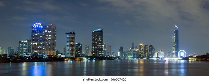 city night in Bangkok Thailand, Chao Phraya River