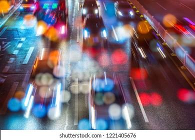 City at night - blur photo, blurred background