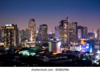City at night - blur photo, light Bokeh background