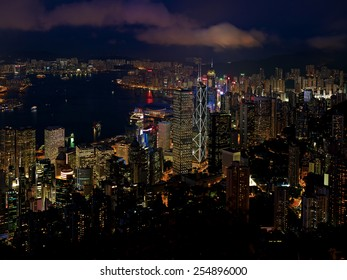 City night lights. Scenery of large modern city shining with neon lights