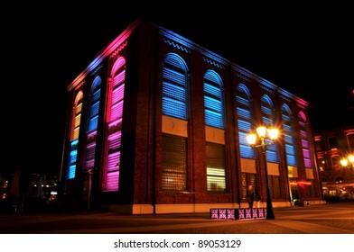 ?ód? city at night. Old factory.