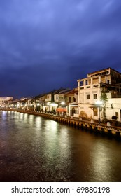 City night scene with serenity in Malacca, Malaysia, Asia.
