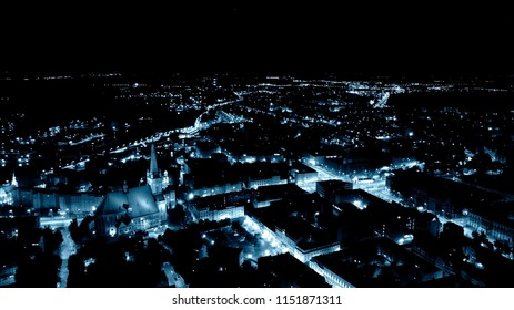 City at night, seen from a bird's eye view