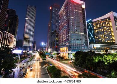 The city at night of shenzhen,china