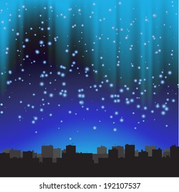 City at night. The starry sky. Illustration.