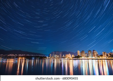 city night with stars trail backgrounds,Vancouver BC Canada