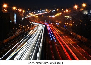 City night traffic (Warsaw, Poland)
