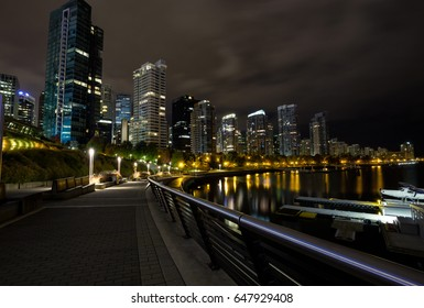 City Night View with Buildings in the Background. Taken in Harbour Green Park, Downtown Vancouver, BC, Canada.