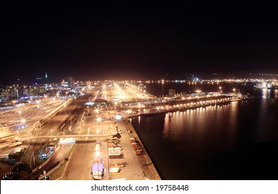 city night view of Durban harbor, South Africa