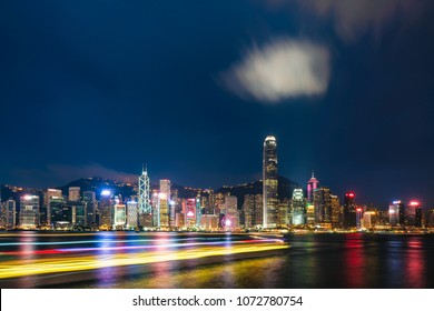 City night view, huge towers in central, in Hong Kong