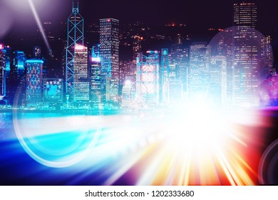 City night view with moving traffic light trails. double exposure