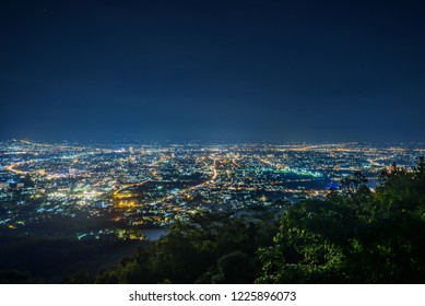 City night from the view point on top of mountain , Chiang mai ,Thailand