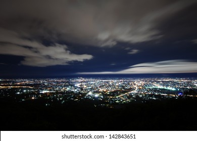 City night from the view point on top of mountain