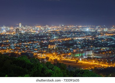 City night from the view point on top of mountain , Hat Yai , Thailand