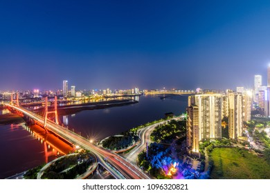 City night view and river