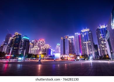 City night view with skyline.