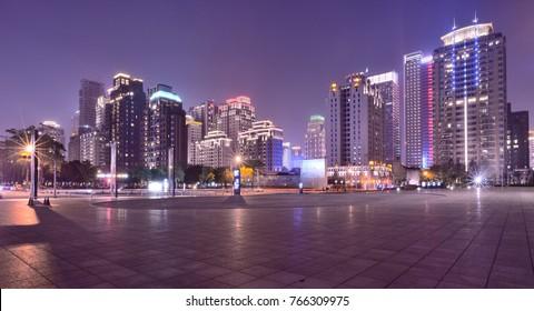 City night view with skyline