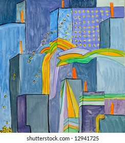 City in the night, watercolor on the paper, i am an author