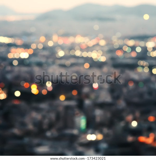 City at night,bokeh background.
