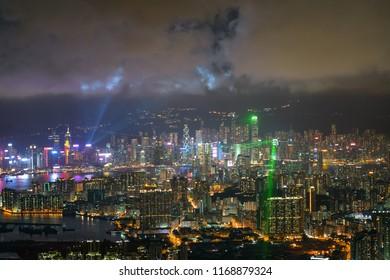 City nightlight sky and laser light