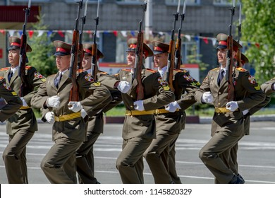 The city of Novosibirsk, Russia. July 7, 2018. A festive military parade at the Novosibirsk Military Institute. Festive performance of soldiers with rifles.