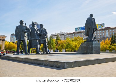 The city of Novosibirsk, Siberia, Russia - September 17, 2017: sculptures of soldiers, workers and peasants in Lenin square