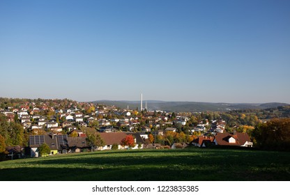 The city of Obernburg am Main as seen form far away during a clear day