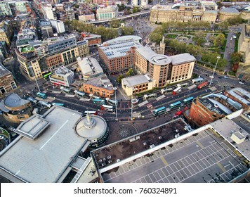 City with old architecture in liverpool, top view from above, england, united kingdom
