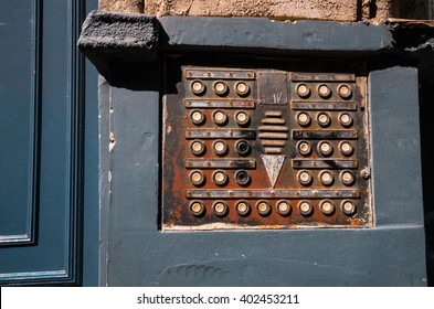 City old intercom - Budapest, Hungary - March 3, 2016: Retro vintage apartment intercom at the entrance of a building in the city of Budapest.